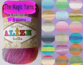 Alize Bella Batik 100% pure cotton, pack of 5 skeins, natural, hypoallergenic yarn, beautiful batik colors,sport, light weight, 4ply, 14wpi