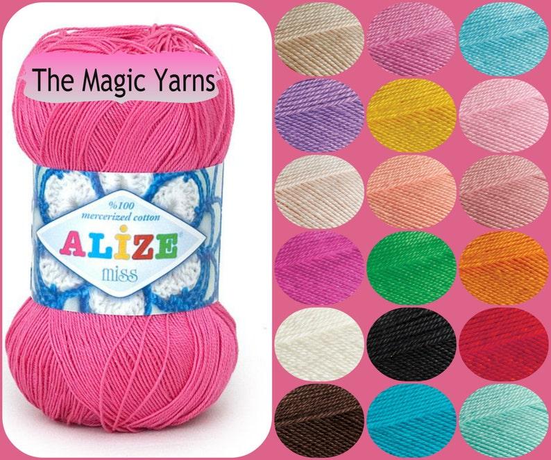 ALIZE MISS Mercerized cotton yarn,summer crochet yarn,crochet thread- lace  weight,super fine,ultra fine, baby weight, 2-3 ply,crochet doily