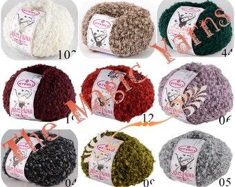 Yarn with loop,  Boucle yarn, Fancy yarn, little loop yarn, wool yarn, wool blend, wool acrylic, scarf, hats, yarn with winding