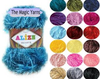 Alize Decofur - long eyelash yarn, scrubbies yarn,fancy yarn,effective yarn,sparkly yarn,long lash yarn,cristmas decoration,