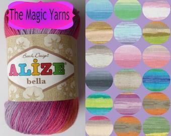 Natural Cotton yarn,ALIZE BELLA BATIK 100% pure cotton, natural yarn, hypoallergenic yarn, beautiful batik colors,sport, light weight, 8ply,