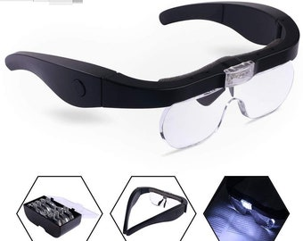 Head Magnifier Glasses with 2 LED Lights Magnifying Eyeglasses for Reading Jewelry Watch Repair Hobby, Detachable Lenses 1.5X, 2.5X, 3.5X,5X
