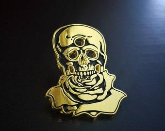 Gold Skull/Third Eye/Rose pin