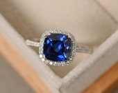 Sapphire ring, cushion cut engagement ring, silver, blue sapphire, halo silver ring