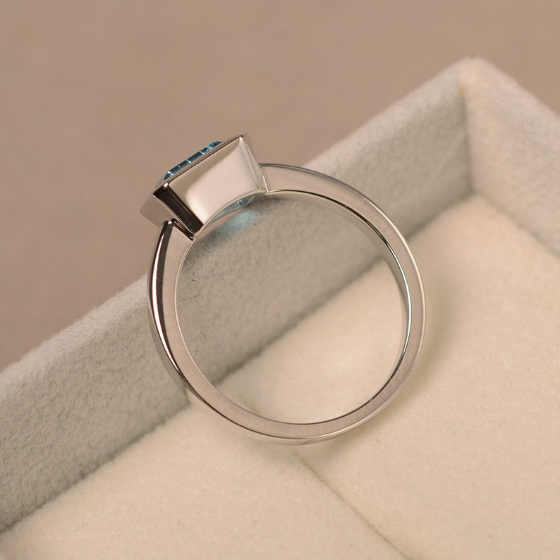 Swiss blue topaz ring anniversary ring sterling silver solitaire ring emerald cut