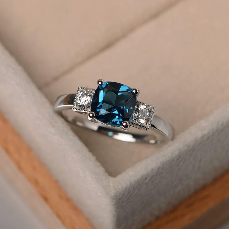 London Blue Topaz Ring Wedding Ring Cushion Cut Topaz Gemstone Ring Sterling Silver Ring November Birthstone Ring