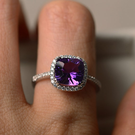 Amethyst Ring adjustable Silver Violaceous Gemstone Jewelry Wire Wrap OOAK Beauty Fantasy inspired gift for Elvish love