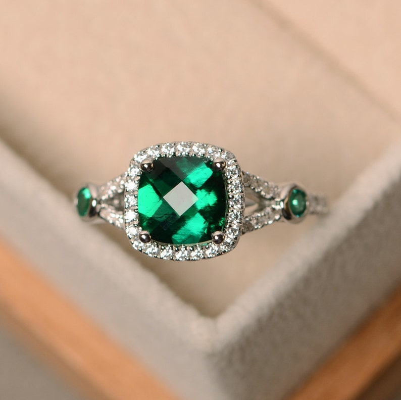 Emerald Engagement Ring Cushion Cut Emerald Promise Ring Sterling Silver Emerald