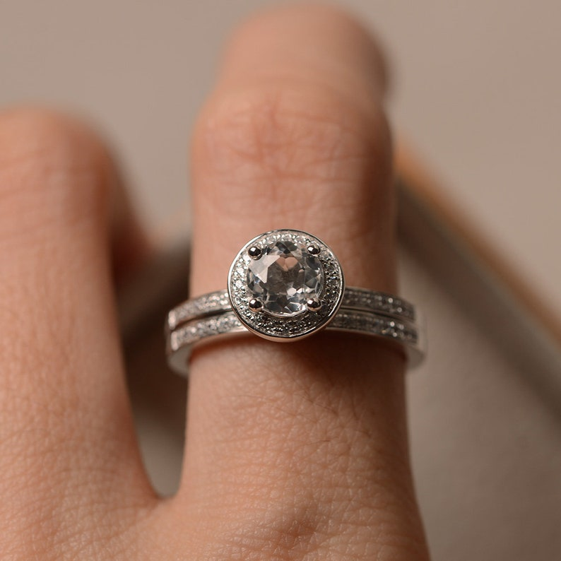 November birthstone ring round cut halo ring anniversary ring colorless gemstone ring White topaz ring silver engagement ring