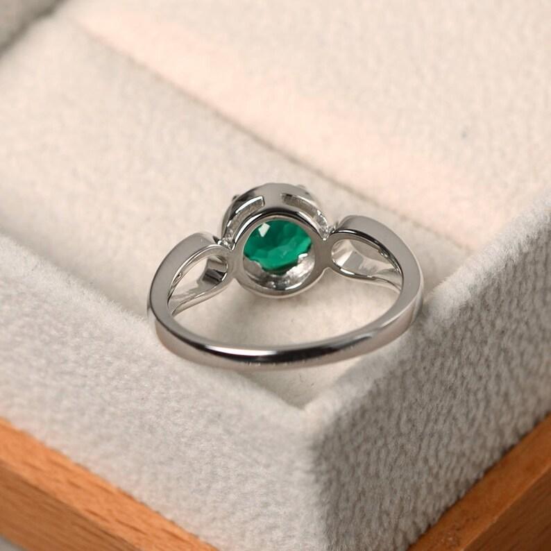 sterling silver rings May birthstone rings green gemstone rings,round cut rings emerald wedding rings Halo rings