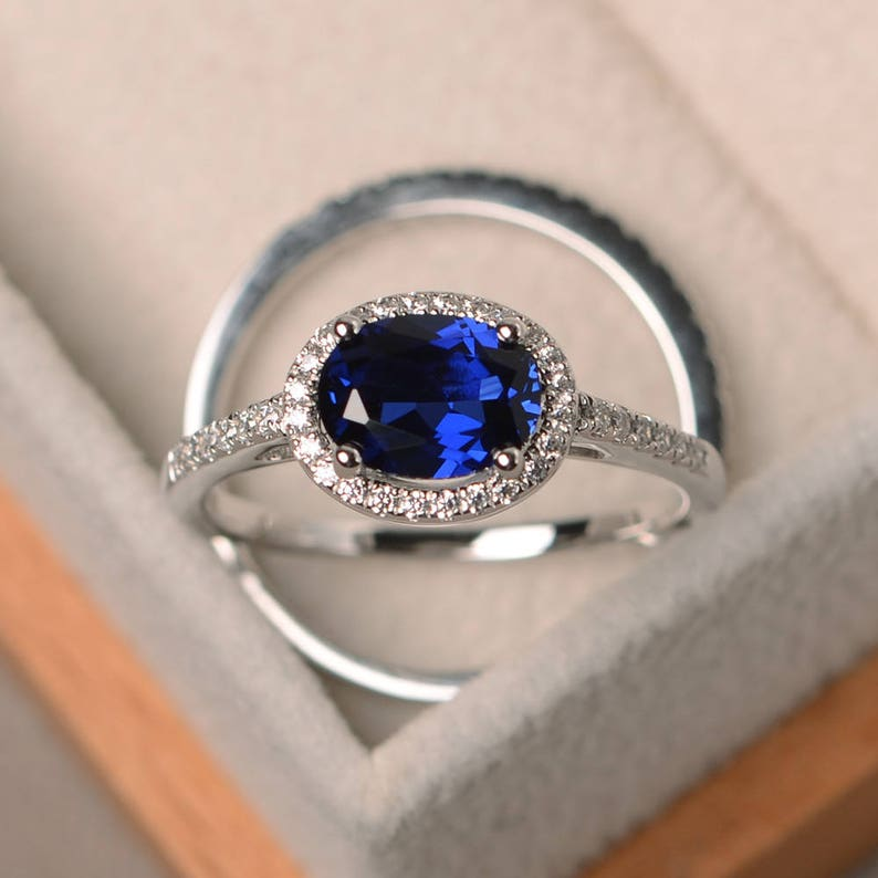 Fine Jewelry Sterling Silver 2 Mm Created Sapphire And Diamond September Birthstone Ring We Take Customers As Our Gods Fine Rings