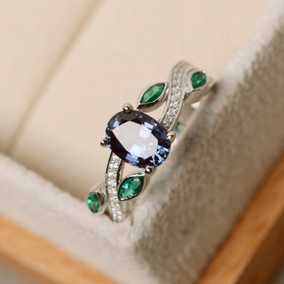 Alexandrite Ring Leaf Ring Oval Shaped Engagement Ring