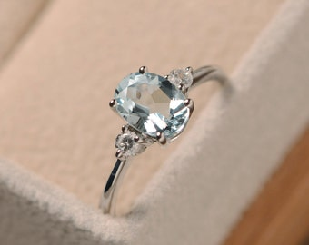 Aquamarine ring, sterling silver, oval cut, March birthstone,light blue stone,slim ring, gift for mom