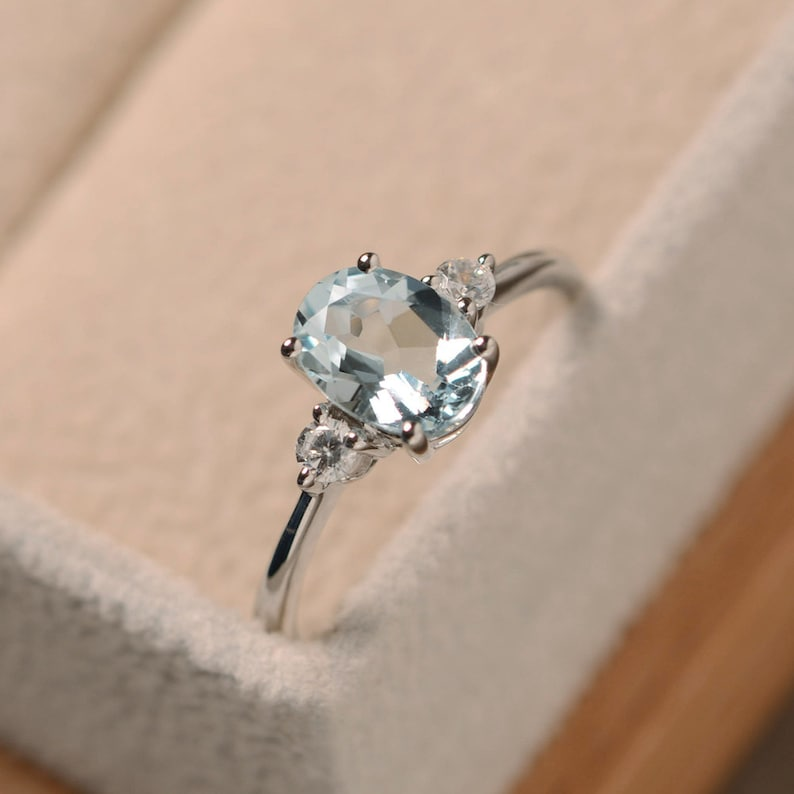 Aquamarine ring sterling silver oval cut March image 0