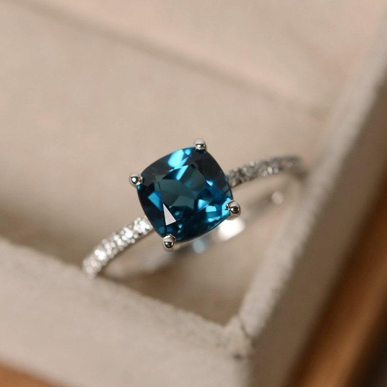 London Blue Topaz Ring Blue Gemstone Cushion Cut Ring Engagement Ring