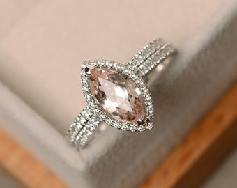 Morganite engagement ring, marquise ring, silver