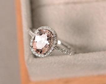 Natural morganite wedding ring, sterling silver, pink gemstone, vintage halo ring
