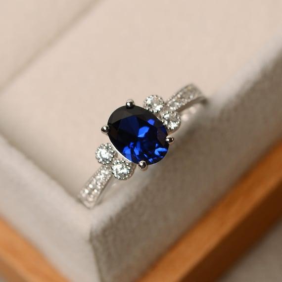 925 Sterling Argent Naturel Saphir Bleu Diffusion 5 x 7 mm Ovale Fait Main Bague