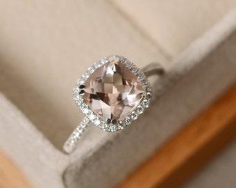 Natural morganite engagement ring, cushion cut, pink stone, sterling silver, handmade wedding ring