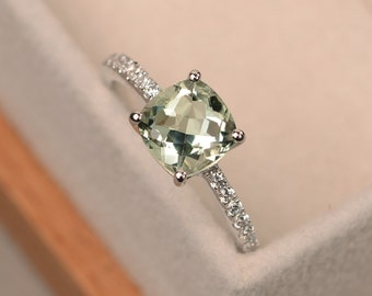 Green amethyst ring, cushion cut, sterling silver, engagement rings, gemstone ring