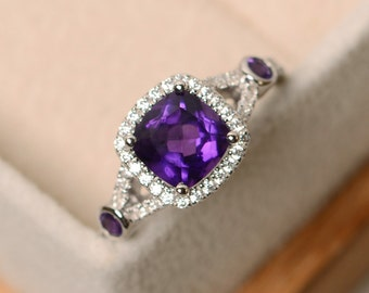 Engagement ring, amethyst ring, purple crystal ring, gemstone ring amethyst, sterling silver, cushion cur amethyst ring