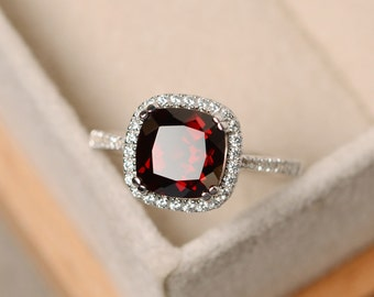 Garnet ring, cushion cut engagement ring, sterling silver, January birthstone, natural garnet