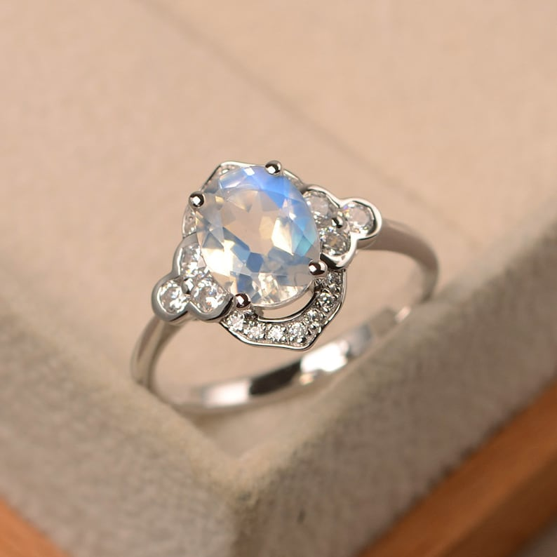 halo ring oval cut rings faceted moonstone ring Natural blue moonstone ring June birthstone