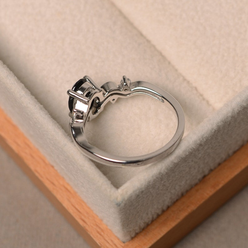 sterling silver rings Black spinel ring promise ring oval cut