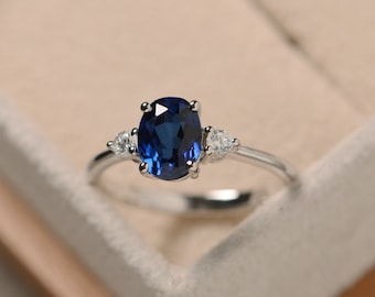 Sapphire engagement silver ring ,oval cut blue gemstone,gift for mom,September birthstone