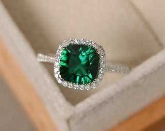 Emerald engagement ring, sterling silver, cushion cut, emerald gemstone ring