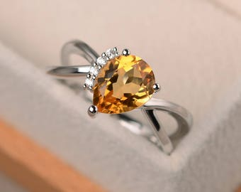 Natural citrine ring, anniversary ring, pear cut ring, yellow gemstone, solid sterling silver ring