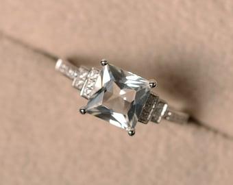 White topaz ring, anniversary ring, princess cut ring, engagement ring