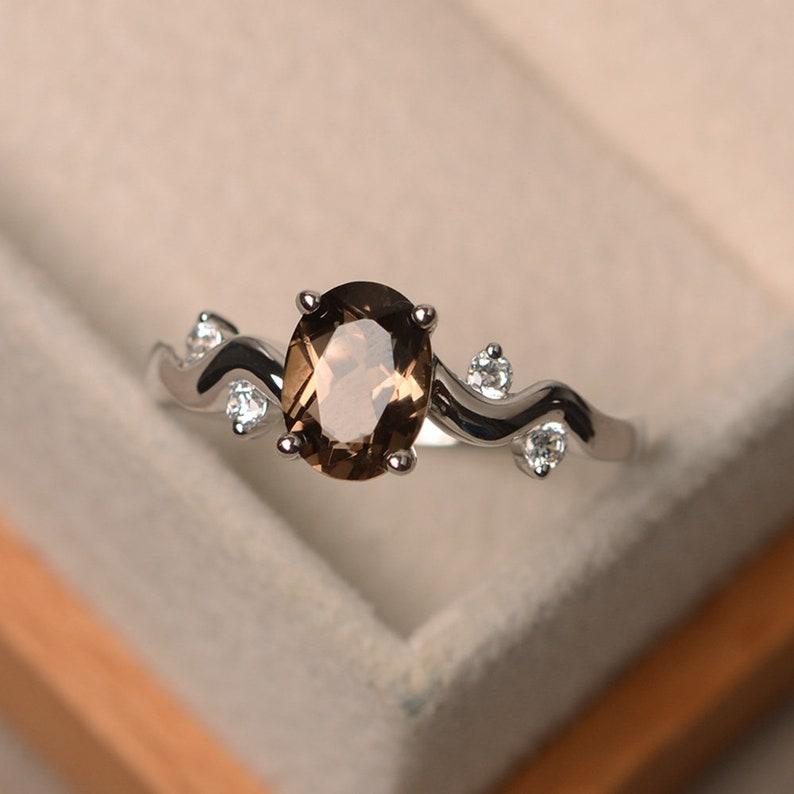 Smoky quartz ring sterling silver ring oval shape brown gemstone ring