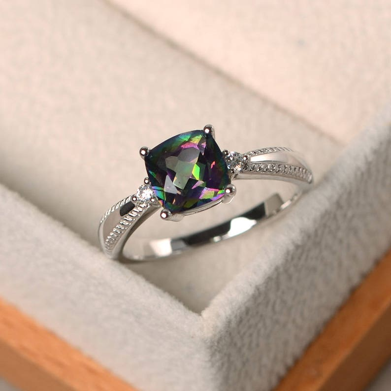 silver ring cushion cut rings Genuine mystic topaz rings rainbow topaz rings engagement rings