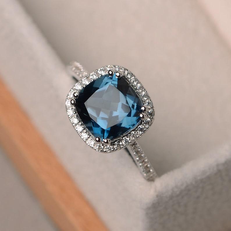 London Blue Topaz Ring Blue Topaz Rings Cushion Cut Engagement Ring Blue Gemstone Ring Sterling Silver Halo Ring