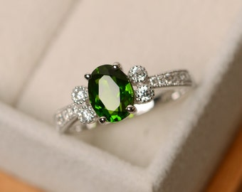 Diopside ring, green diospide, silver, gemstone ring