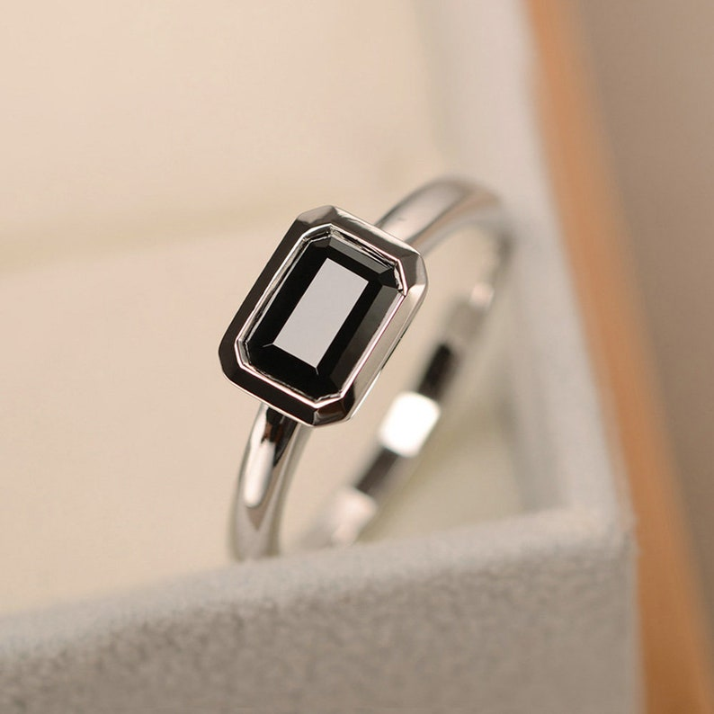 emerald cut solitaire ring Black spinel ring east west ring sterling silver black gemstone ring