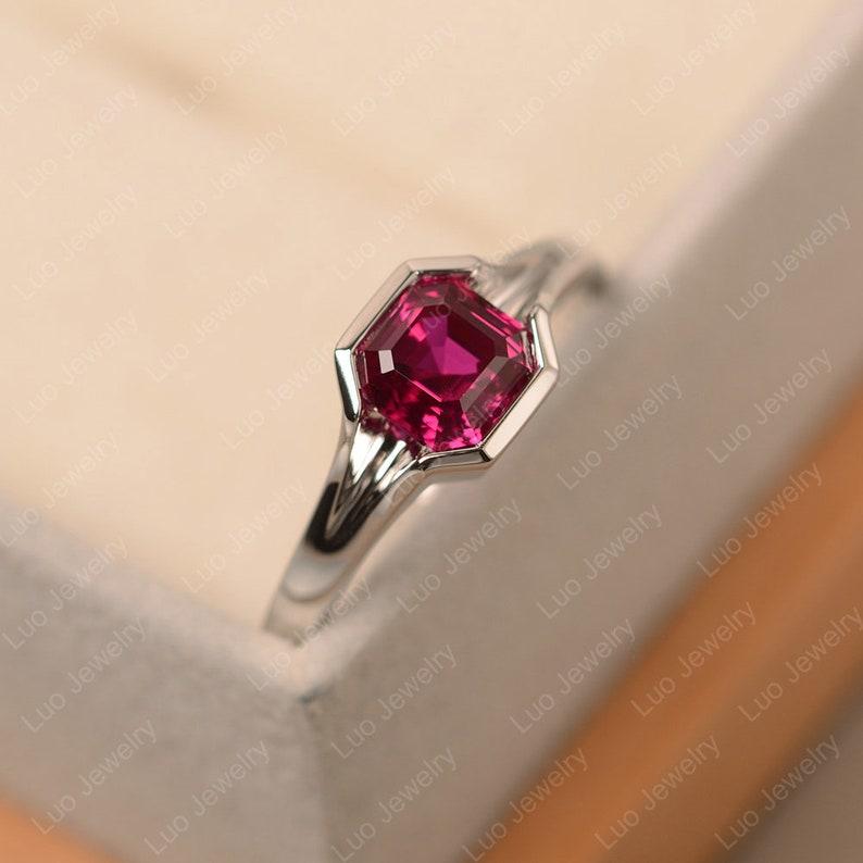 asscher cut white gold Ruby ring