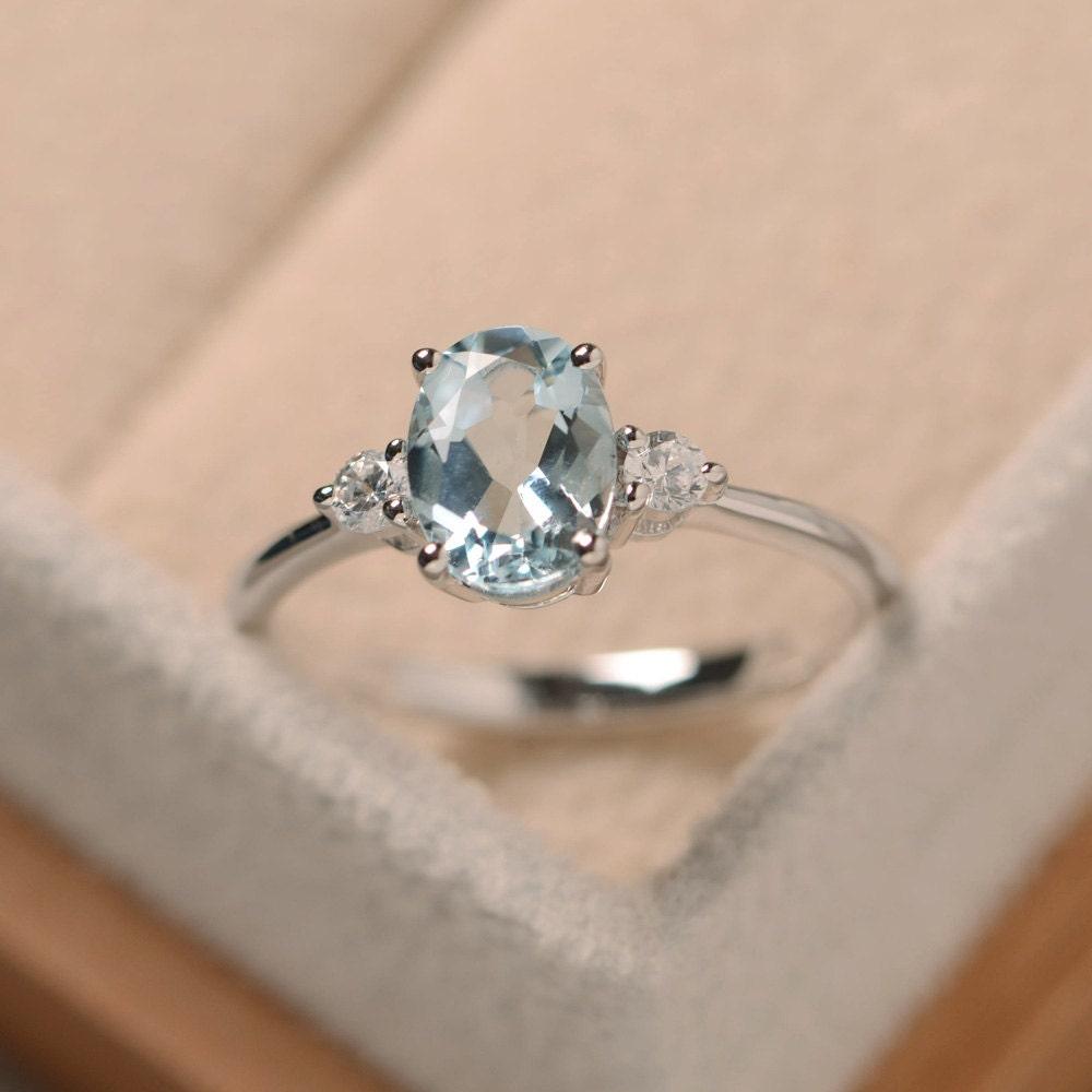 Aquamarine Ring Silver Oval Cut Aquamarine March Birthstone