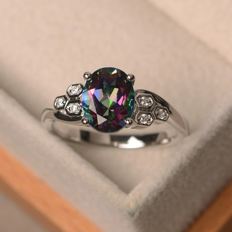 Mystic topaz ring anniversary gift sterling silver ring oval cut promise ring rainbow topaz ring