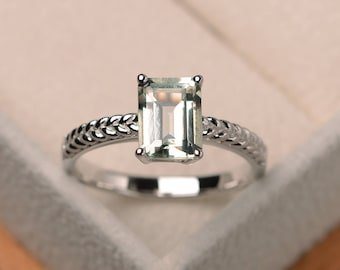 Natural green amethyst ring, wedding ring, emerald cut green gemstone, solitaire ring, sterling silver ring
