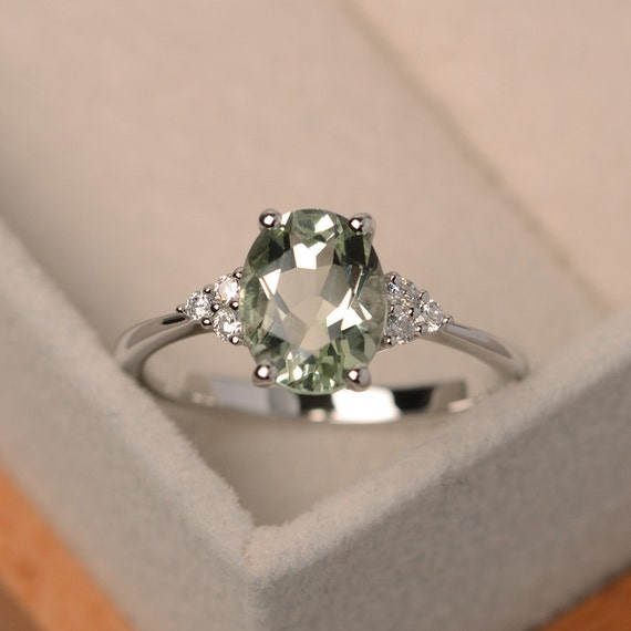 20x12mm Gorgeous Oval Green Amethyst White CZ For Women Gift Silver Ring US 7.0