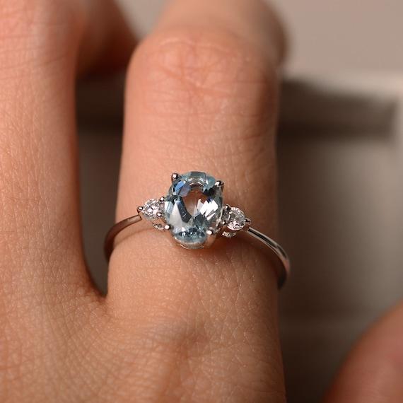 Aquamarine Ring  Birthstone Ring Thin Silver RingBirthstoneAquamarineMarch BirthstoneCustomflorumAquamarine Gem Ring*Sterling Silver