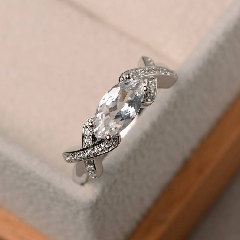 marquise cut gemstone Engagement ring November birthstone sterling silver ring natural white topaz ring