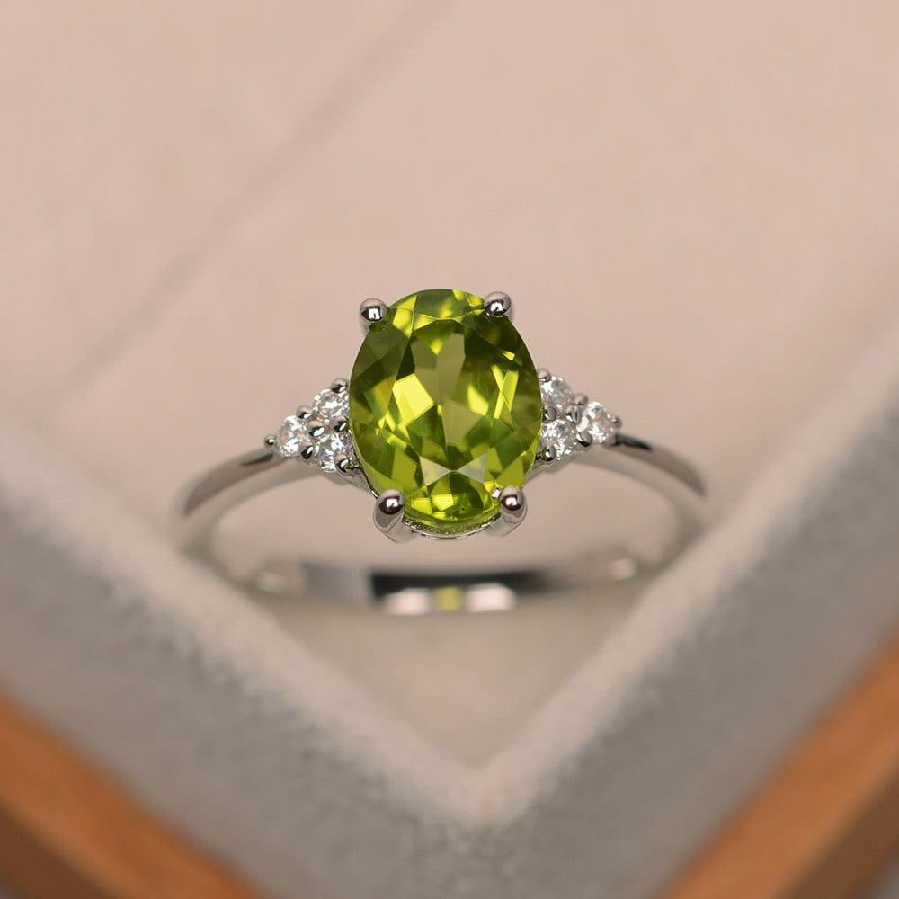peridot ring engagement ring natural peridot oval cut. Black Bedroom Furniture Sets. Home Design Ideas