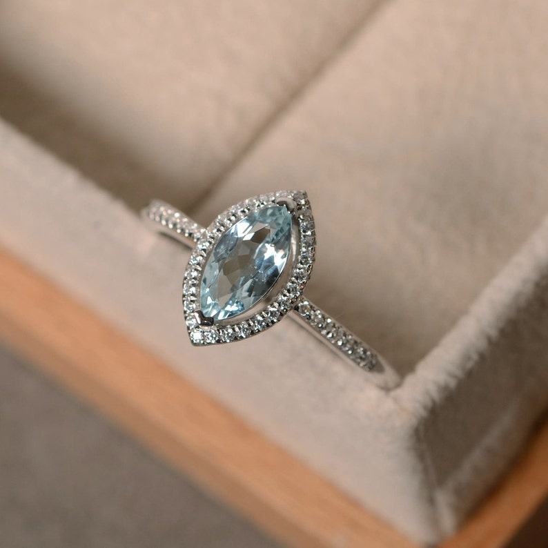 March birthstone promise ring Marquise aquamarine ring silver