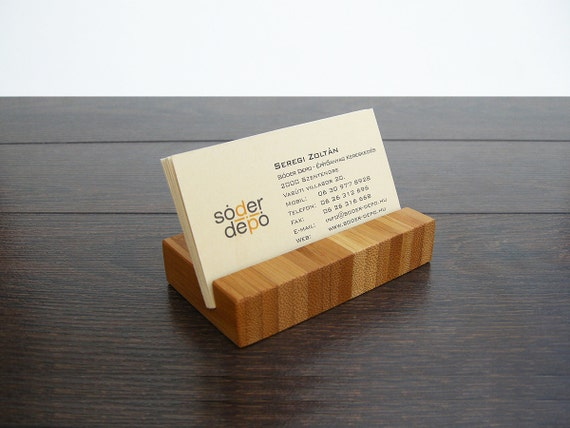 wood business card holder bamboo business card etsy