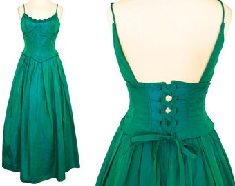 5ee2ff19312 80s Jessica McClintock Gunne Sax Blue Green Iridescent Taffeta Lace Up Tie  Corset Puff Skirt Occasion Prom Xmas Party Wedding Ball Gown