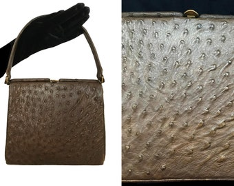 c9592eef72 50s Genuine Ostrich Skin Leather Brown Olive Green Luxury Suede Lined Top  Handle Ladylike Bag
