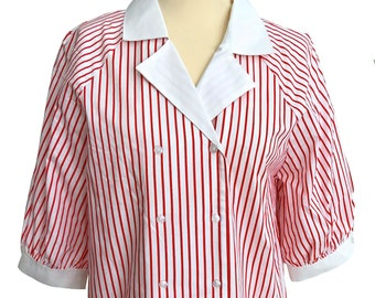 5511f27419d 80s Pure Cotton Red   White Striped Nautical Sailor Double Breast Raglan  Puffed Sleeves Buttoned Notched Collar Blouse Top